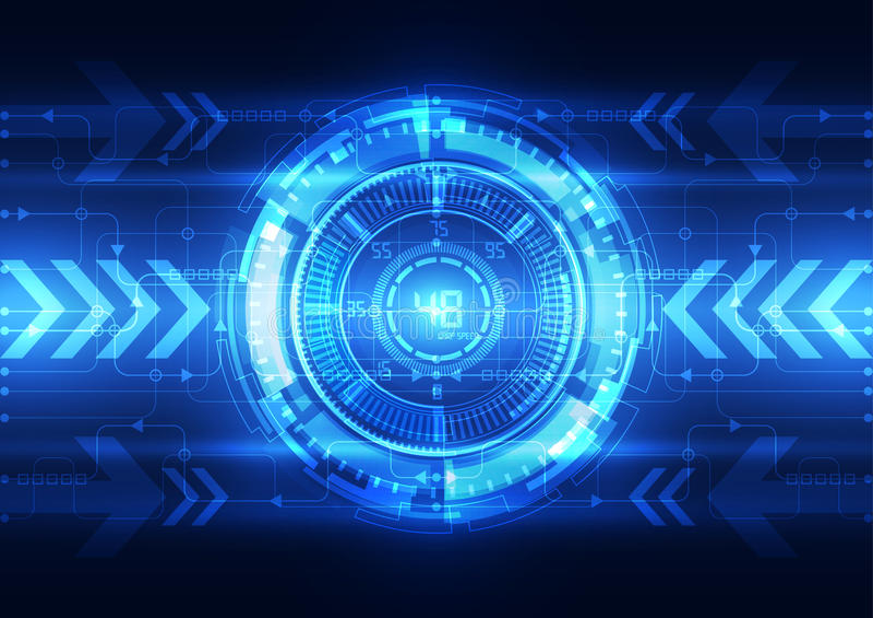 Cérebro digital abstrato do circuito bonde, vetor do conceito da tecnologia ilustração stock