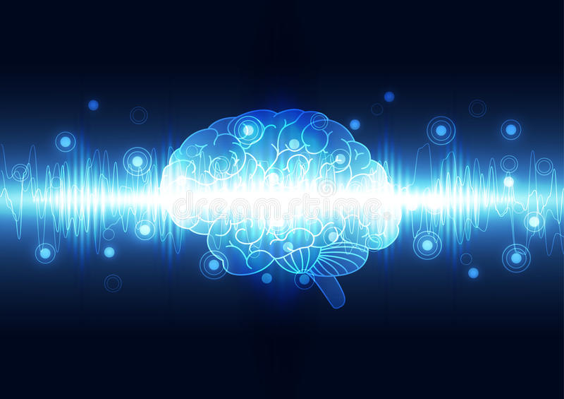 Cérebro digital abstrato, vetor do fundo do conceito da tecnologia ilustração stock