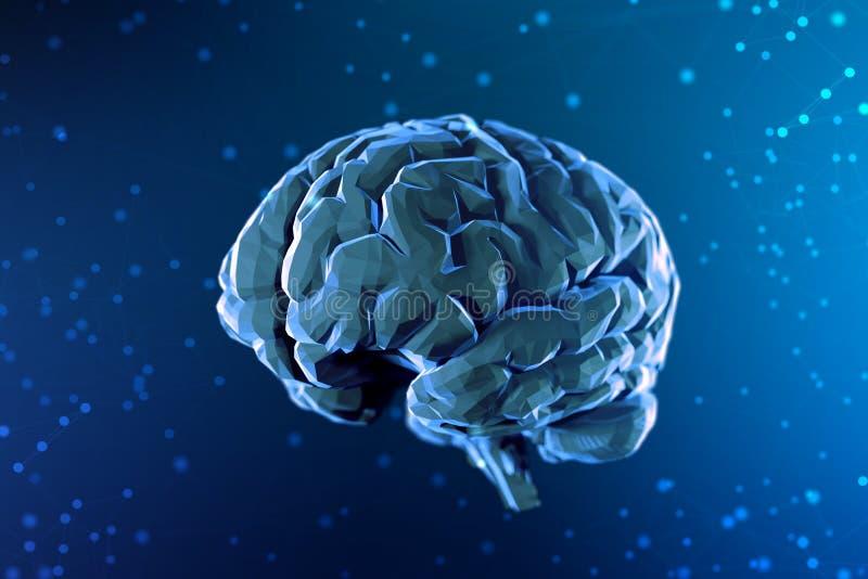 cérebro digital da ilustração 3d no fundo abstrato Inteligência artificial e as possibilidades ilimitadas de mente ilustração do vetor