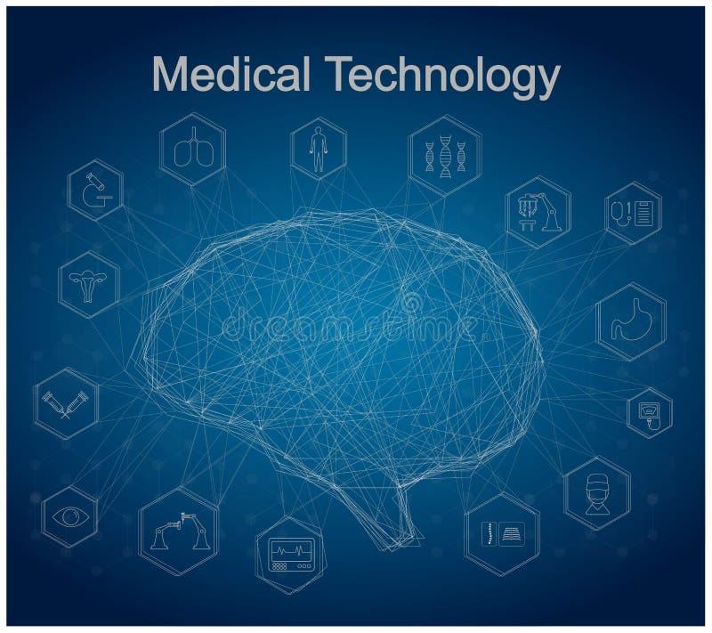 Cérebro do AI para a tecnologia médica ilustração stock