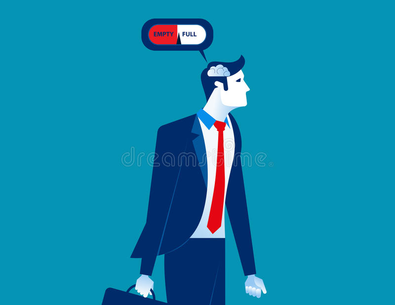 Cérebro do calibre do homem de negócios com vazio e completamente Negócio IL do conceito ilustração stock