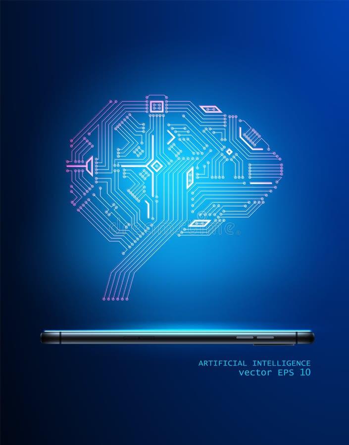 Cérebro do circuito digital do vetor do smartphone 3d ilustração stock