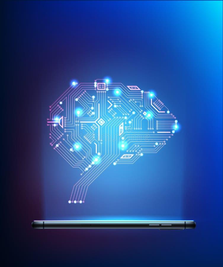 Cérebro do circuito digital do vetor do smartphone 3d ilustração do vetor