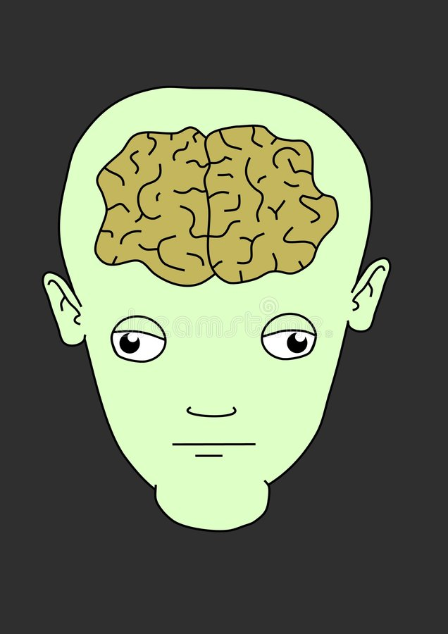 Cérebro do estrangeiro de Toon ilustração do vetor