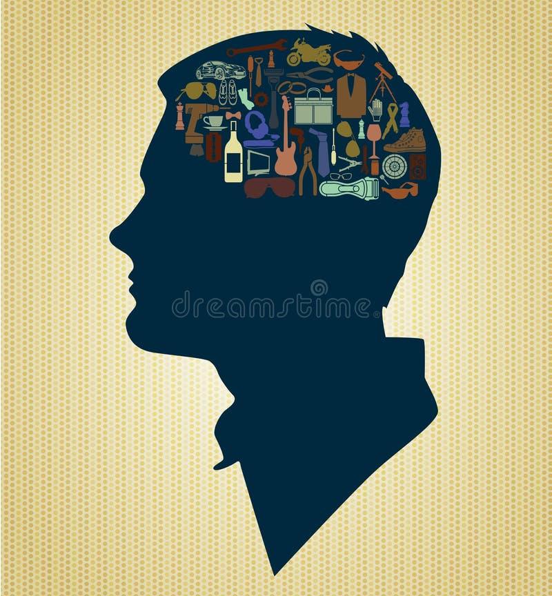 Cérebro do homem ilustração do vetor