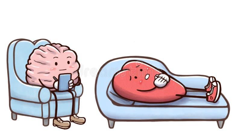 Cérebro do psicólogo em uma sessão de terapia com um coração paciente no sofá - isolado no fundo branco ilustração do vetor