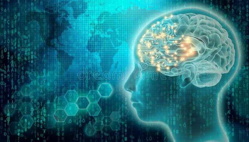 Cérebro do PWB com 3d para render o perfil principal humano Inteligência artificial ou conceitos do AI Meios mistos futuristas da imagens de stock royalty free