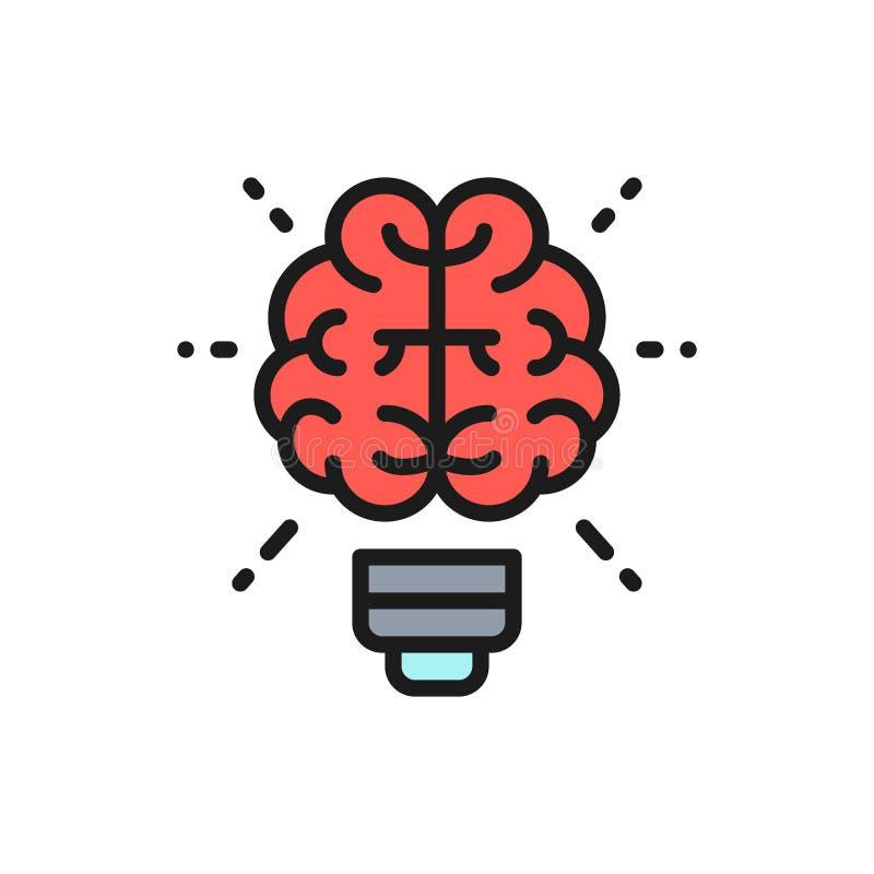 Cérebro do vetor e ampola, inovação, linha de cor lisa ícone da ideia criativa ilustração royalty free