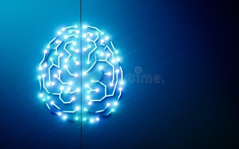 Cérebro dos circuitos impressos Conceito da inteligência artificial, profundamente ilustração do vetor