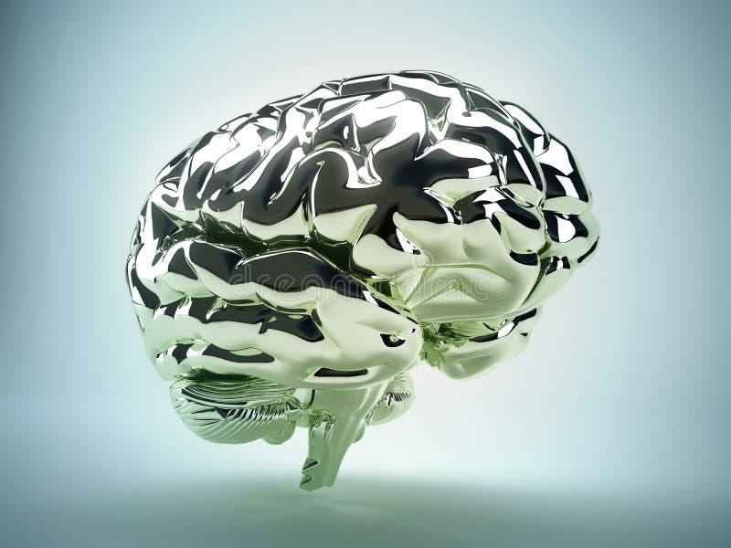 Cérebro dourado ilustração stock