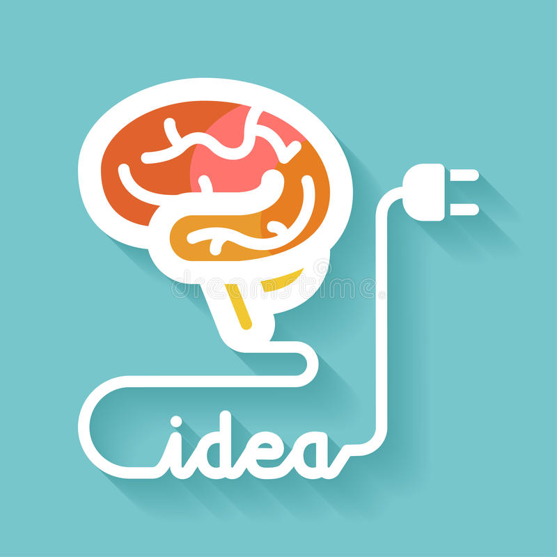 Cérebro e ideia ilustração royalty free