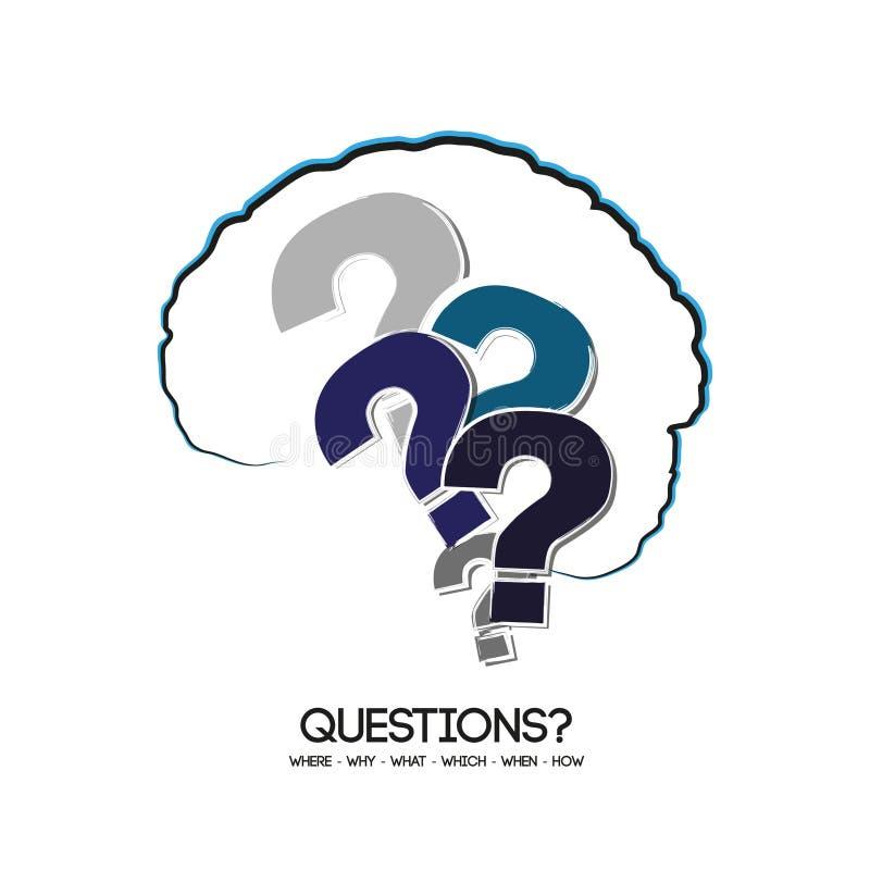 Cérebro e pontos de interrogação - perguntas ilustração stock