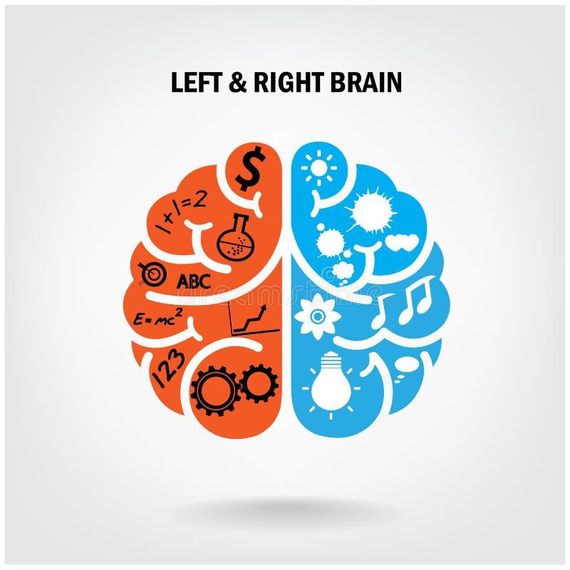 Cérebro esquerdo criativo e cérebro direito ilustração royalty free