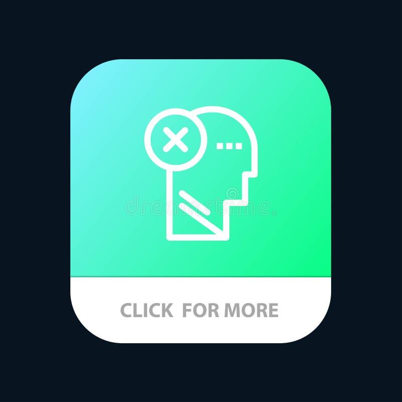 Cérebro, falha, cabeça, ser humano, Mark, mente, botão móvel de pensamento do App Android e linha versão do IOS ilustração stock