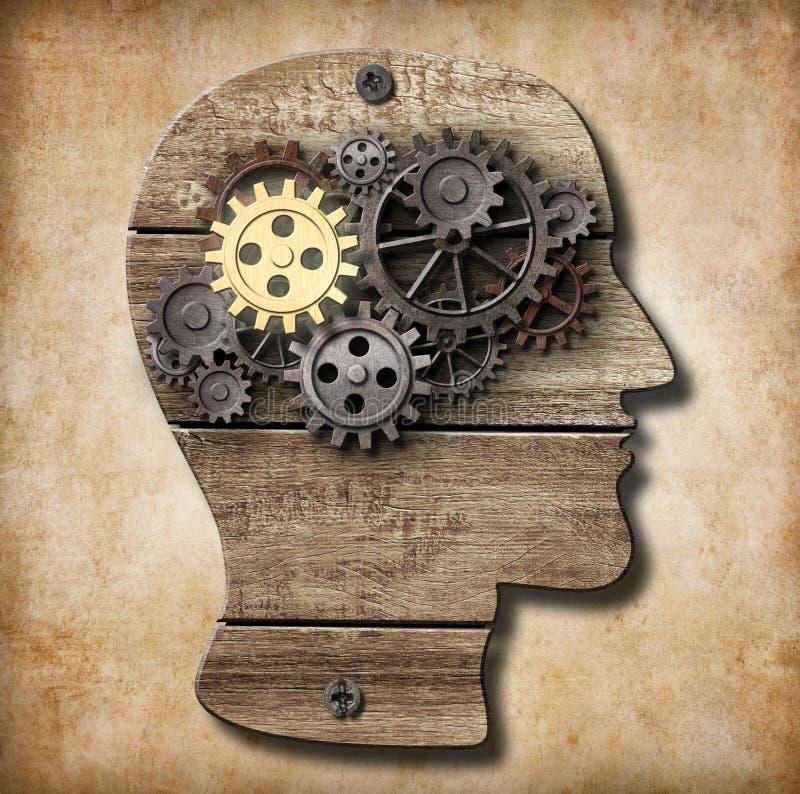 Cérebro feito das engrenagens do metal e do ouro oxidados uma ilustração stock