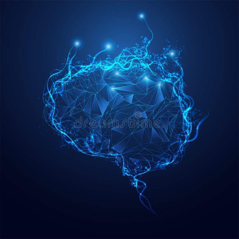 Cérebro futurista poligonal ilustração stock
