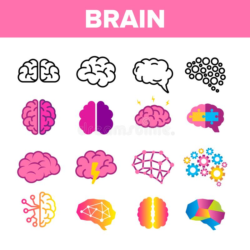 Cérebro, grupo linear dos ícones do vetor do órgão da neurologia ilustração do vetor