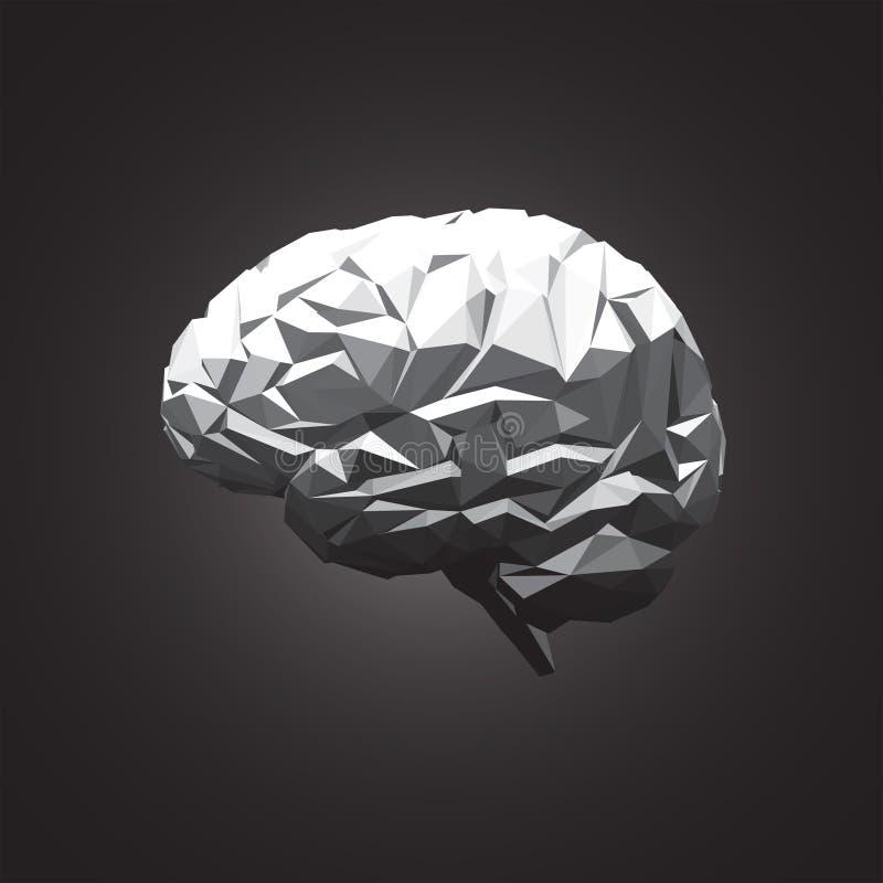 Cérebro humano abstrato de papel no fundo escuro ilustração stock