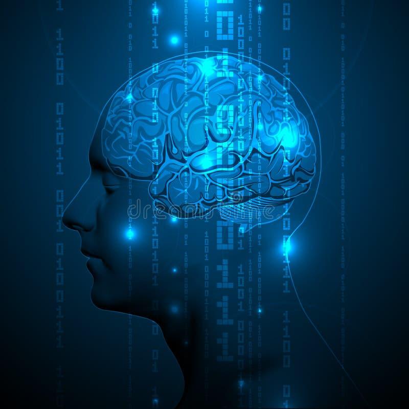 Cérebro humano ativo com elementos binários ilustração do vetor