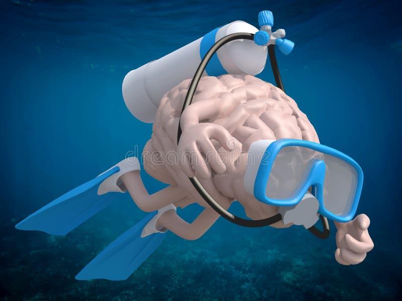 Cérebro humano com óculos de proteção e aletas do mergulho ilustração royalty free