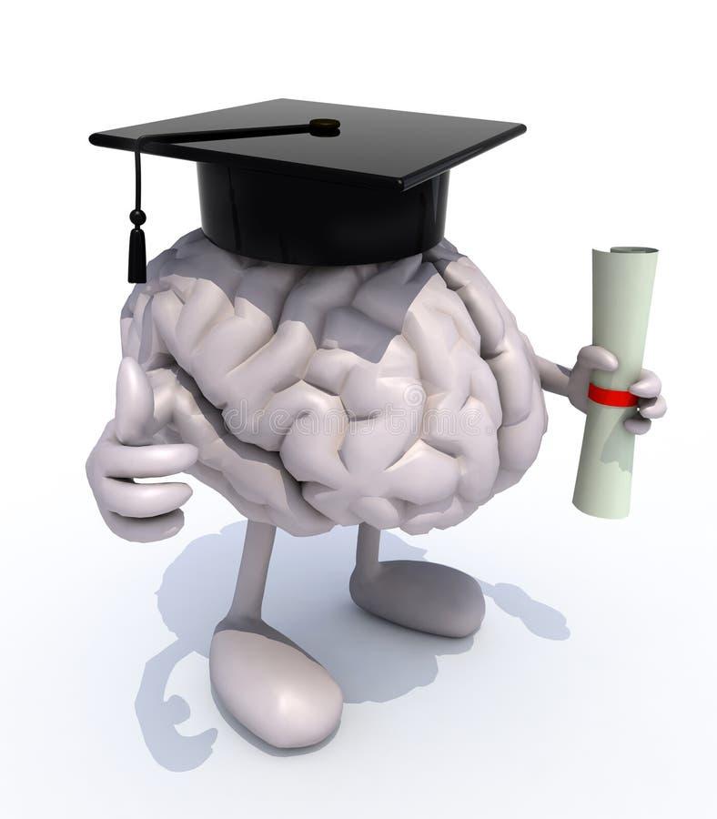 Cérebro humano com braços e pés, tampão da graduação e diploma ilustração stock