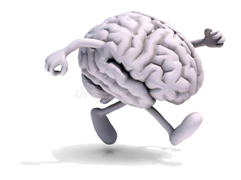 Cérebro humano com corrida dos braços e dos pés ilustração do vetor