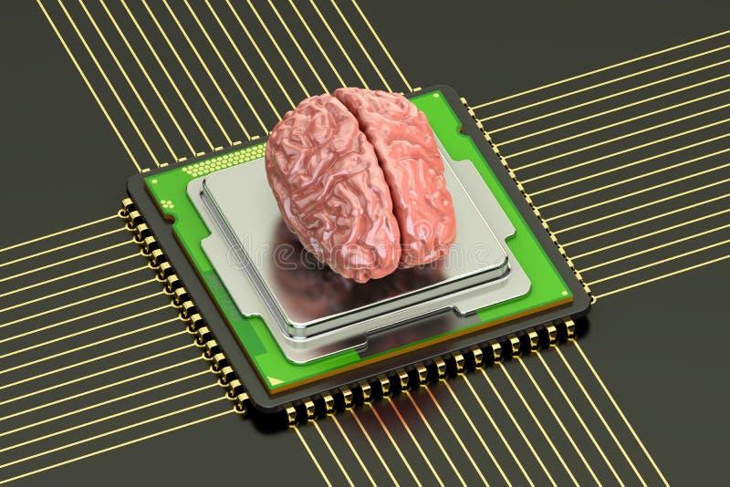 Cérebro humano com o processador do computador do processador central, inteligência artificial ilustração stock