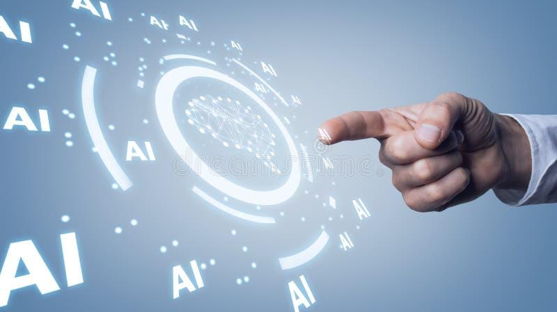 Cérebro humano com palavras do Ai Conceito da inteligência artificial foto de stock