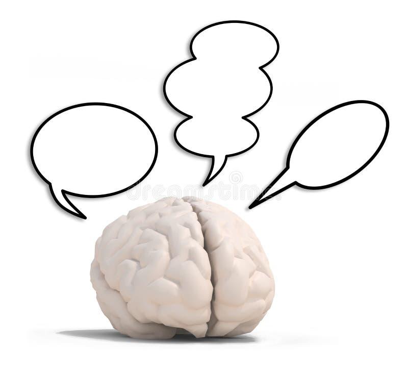 Cérebro humano com três ballons do discurso ilustração do vetor