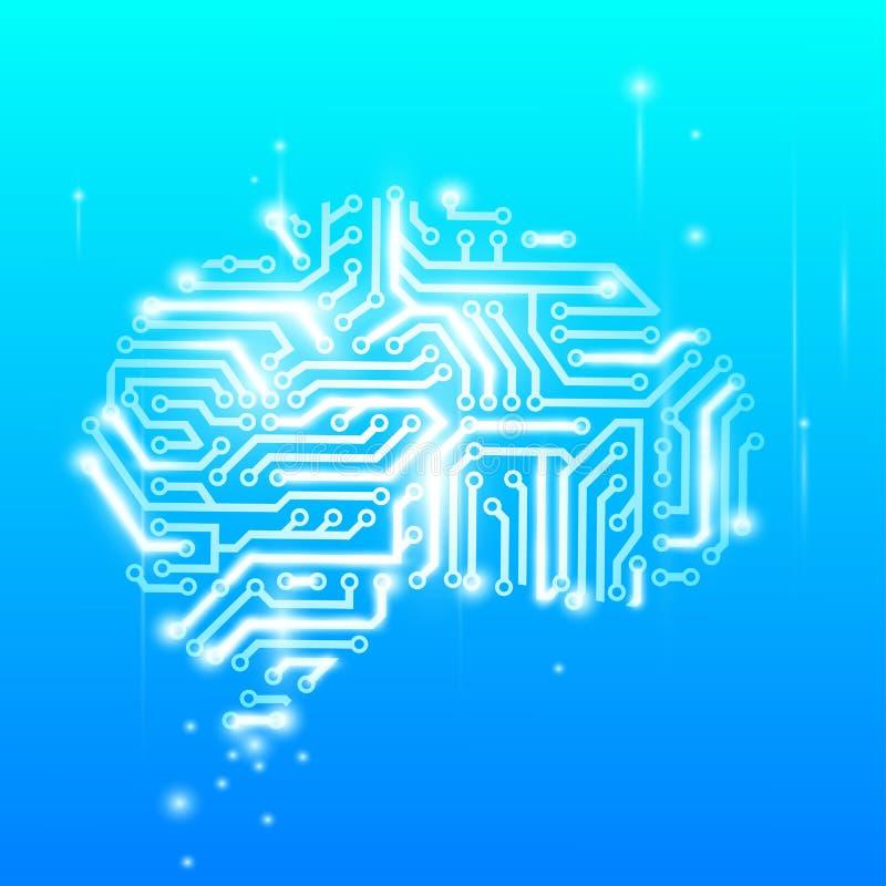 Cérebro humano como um chip de computador ilustração do vetor