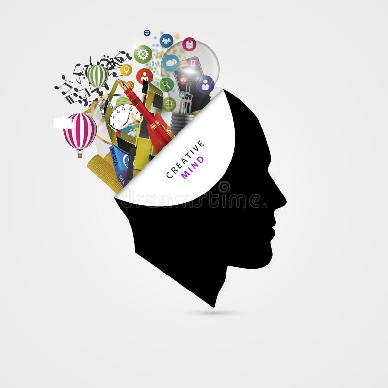 Cérebro humano Conceito creativo da mente gênio Vetor ilustração do vetor