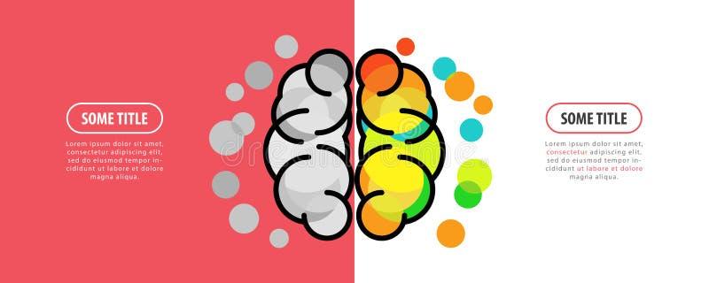 Cérebro humano Conceito creativo da mente Molde do projeto de Infographic ilustração stock