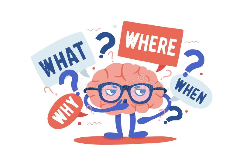 Cérebro humano curioso adorável com os vidros que resolvem crivos cercado por perguntas e por pontos de interrogação cartoon ilustração royalty free