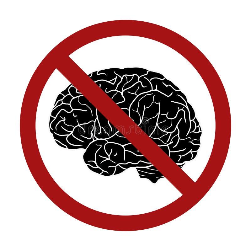 Cérebro humano da silhueta no sinal da proibição Proibição em pensamentos Rejeção do conhecimento ilustração stock