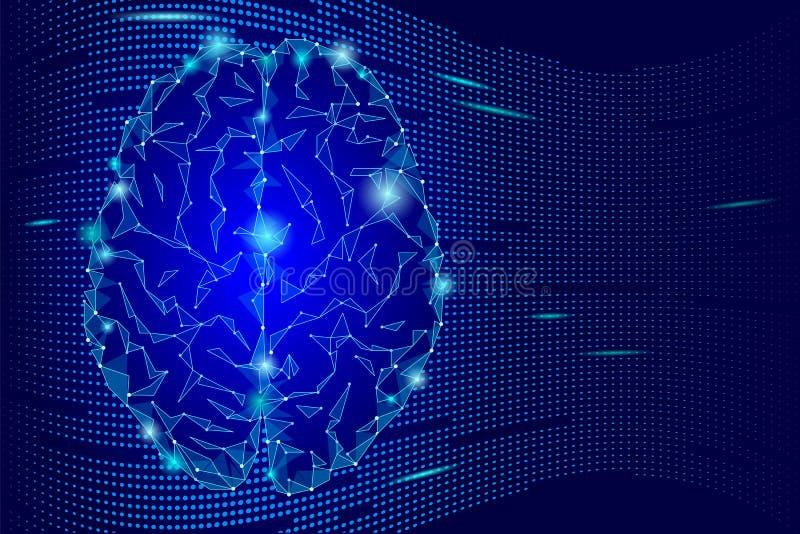 Cérebro humano de incandescência Escuro - conceito poligonal da ideia da mente do inclinação azul Ilustração futurista do fundo ilustração stock