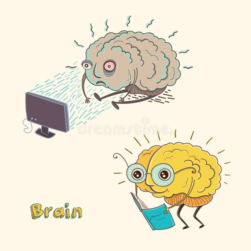 Cérebro humano do personagem de banda desenhada ilustração stock