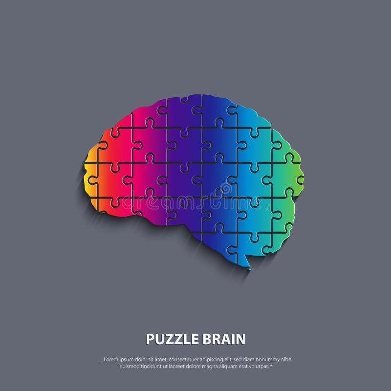 Cérebro humano do vetor composto de um enigma ilustração do vetor