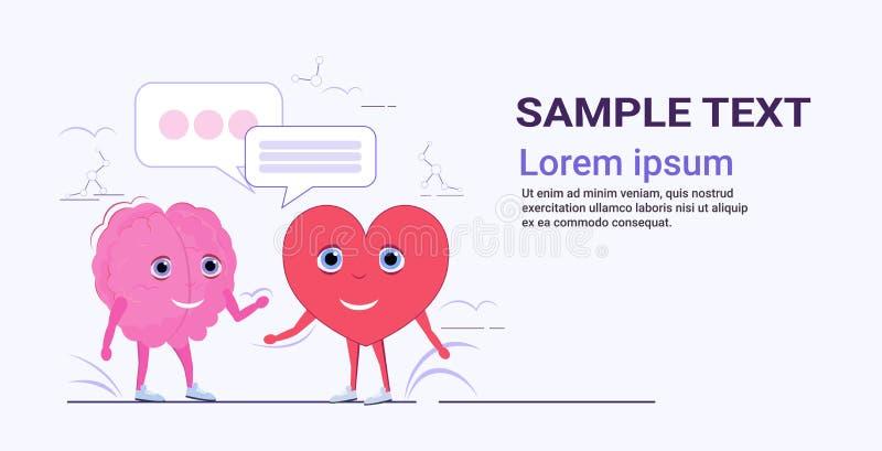 Cérebro humano e coração casal de pé conversando bble fala comunicação conceito de cartoon rosa personagens cor-de-rosa ilustração do vetor