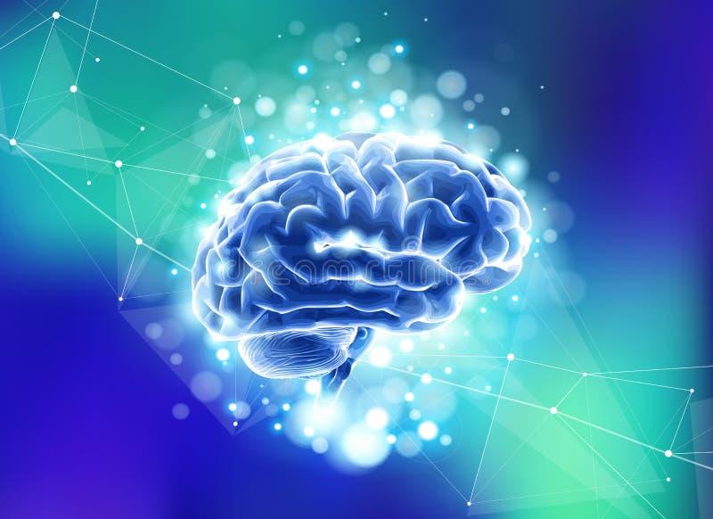 Cérebro humano em um fundo tecnologico azul cercado por campos de informação, redes neurais, Web do Internet ilustração do vetor
