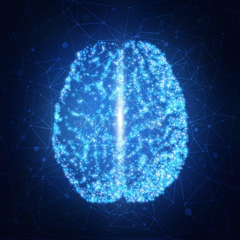Cérebro humano Fundo abstrato da tecnologia Ilustração do vetor ilustração do vetor