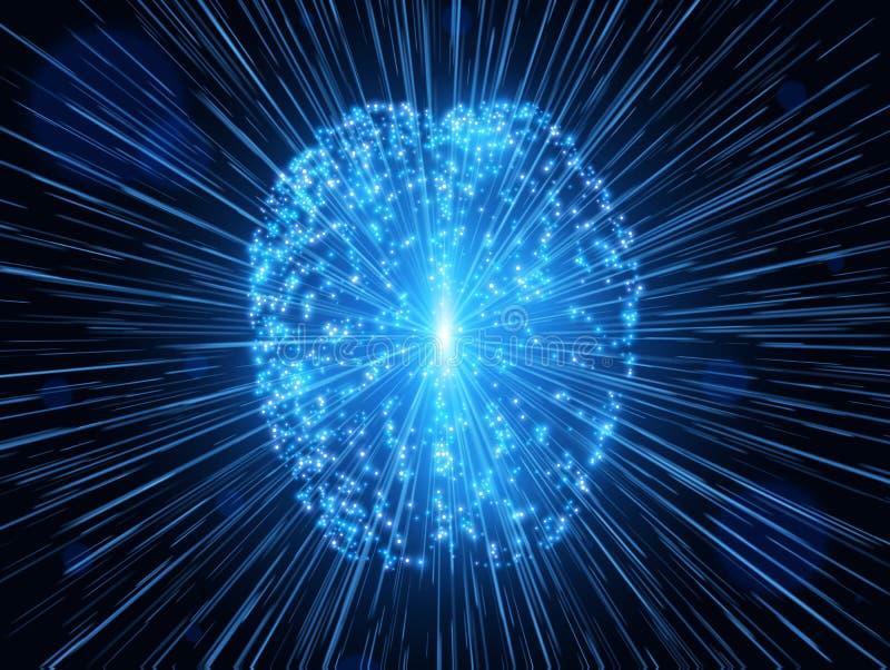 Cérebro humano Fundo abstrato da tecnologia Ilustração do vetor ilustração royalty free