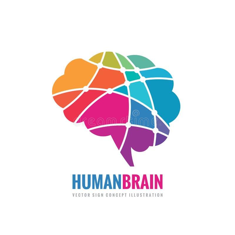 Cérebro humano - ilustração do conceito do molde do logotipo do vetor do negócio Sinal criativo abstrato da ideia Elemento do pro ilustração stock