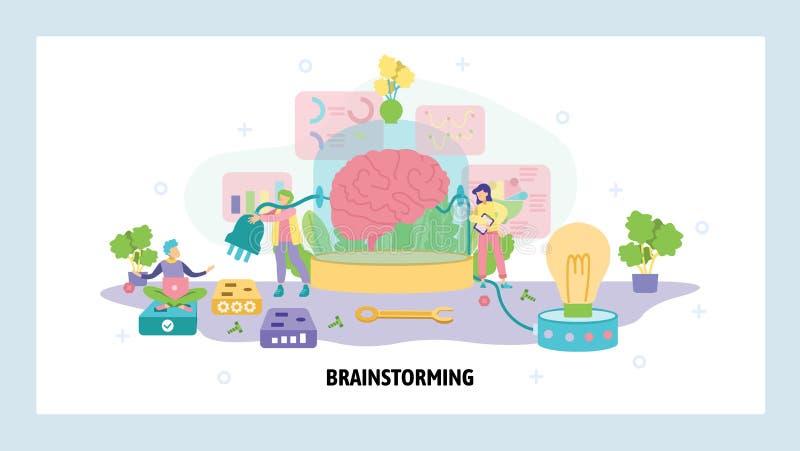 Cérebro humano ligado a um plugue e a uma lâmpada Ideia criativa e conceito de brainstorm Mente humana, processo de pensamento, m ilustração royalty free