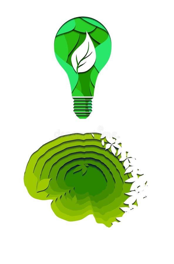 Cérebro humano mergulhado da natureza com folhas e a ampola do eco cortada do papel Ideia e inovação amigáveis de Eco Orig?mi do  ilustração stock