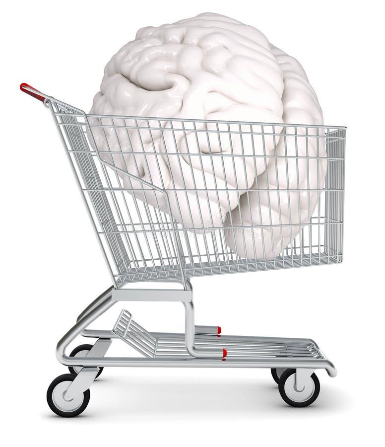 Cérebro humano no carrinho de compras ilustração stock