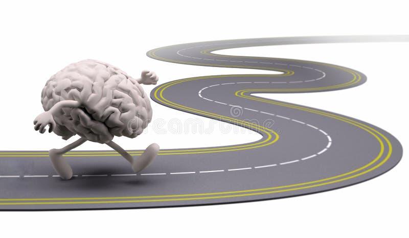 Cérebro humano que corre na rua ilustração stock