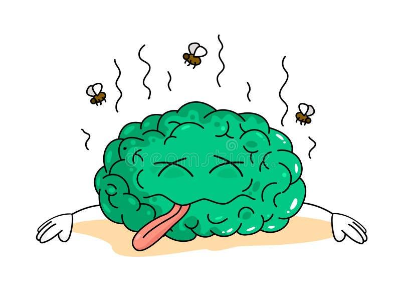 Cérebro inoperante do verde dos desenhos animados entre moscas no fundo branco ilustração do vetor