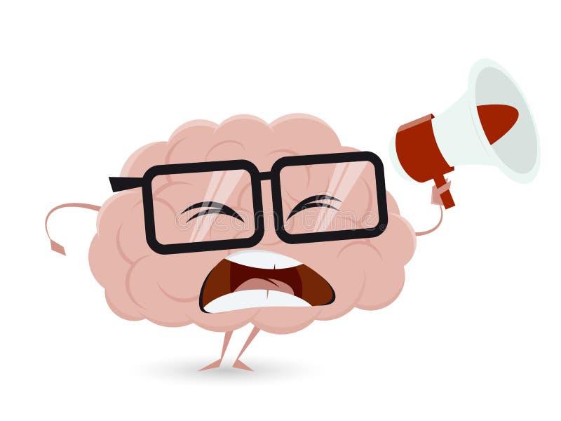 Cérebro irritado dos desenhos animados com megafone ilustração royalty free