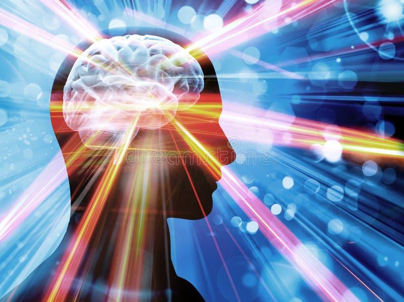 Cérebro, luzes, conceito ilustração royalty free
