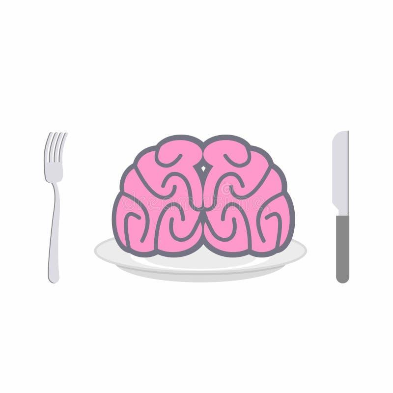 Cérebro na placa Cutelaria: faca e forquilha Alegoria do vecto do alimento ilustração stock
